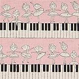 Kokka Hellrosa Wachstuch mit Klaviertasten und Ballerinas