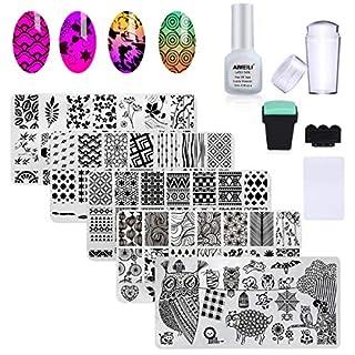 AIMEILI Nail Art Stamping Templates Manicure Tool Kit 5Pcs Nail Stamping Plates, 2 Stamper, 2 Scraper, 1 Latex Peel Off Tape