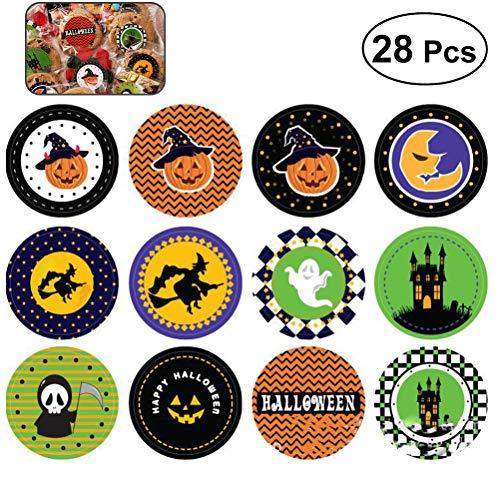 (SUPVOX Halloween-Aufkleber für Halloween-Party Faovrs Halloween-Bastelbedarf Süßigkeiten oder Keks-Bag-Aufkleber 28 PCS)