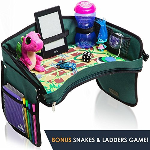 Price comparison product image Premium Kids Car Seat Tray - Bonus Snakes + LADDERS Game / Reinforced Base + Walls / Detachable Kids Travel Tray / Portable Toddler Travel Stroller Tray / Foldable Baby Car Tray for Kids in Car