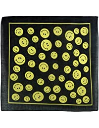 Black Yellow Smiley Emoji Bandana Bandanna Scarf