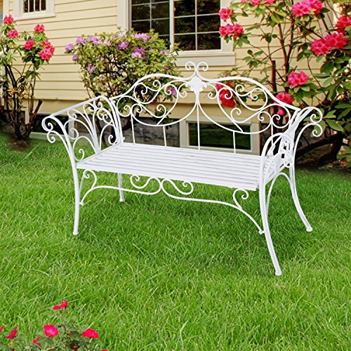 Outsunny Gartenbank, Metall, weiß, 134 x 51 x 89 cm, 840-053 - 2
