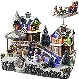 WeRChristmas animata casa decorazione natalizia con Babbo Natale e slitta, multicolore, 25cm