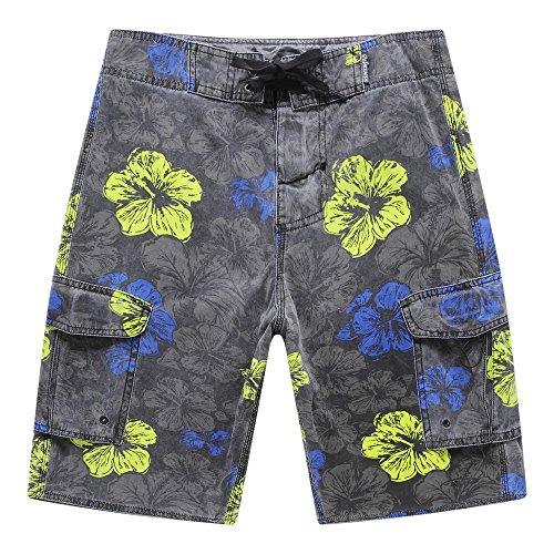 Hombres-playa-desgaste-pantalones-cortos-con-bolsillo-en-lavado-de-piedra-Vintage-Negro-Floral-42