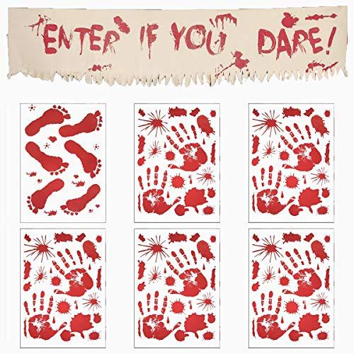 """Angshop Halloween-Dekoration, blutige Handabdrücke, Fußabdrücke, Fensterklammern und blutige Halloween-Banner """"Enter If You Dare Vampir"""", Zombie-Partyaufkleber, 7 ()"""