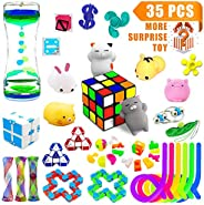 H-Partner Relieves Stress and Increase Focus Bundle Sensory Toys-Fidget Chain/Magic Cube/Mochi Squishies/Liqui