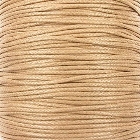 0.6mm Waxed Cotton Cord Thread Shamballa Macrame Jewellery - Natural - 10 metres