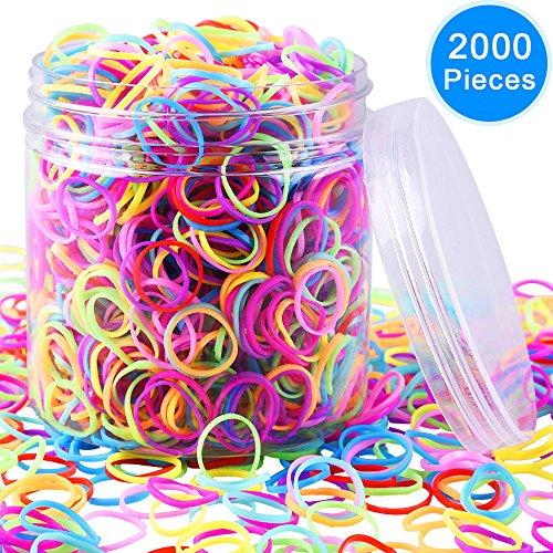 EAONE 2000 Piezas Multicolor Goma de Pelo Elástico Goma con Caja Libre para Niñas Bebés