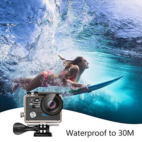 EKEN H8 Pro 4K Actionkamera, wasserdichte Full HD Wifi Sportkamera mit 4K30 / 1080P60 / 720P200fps Video, 12MP Foto und 170 Weitwinkelobjektiv, beinhaltet 17 Montagesätze, 2 Batterien (Schwarz) - 3