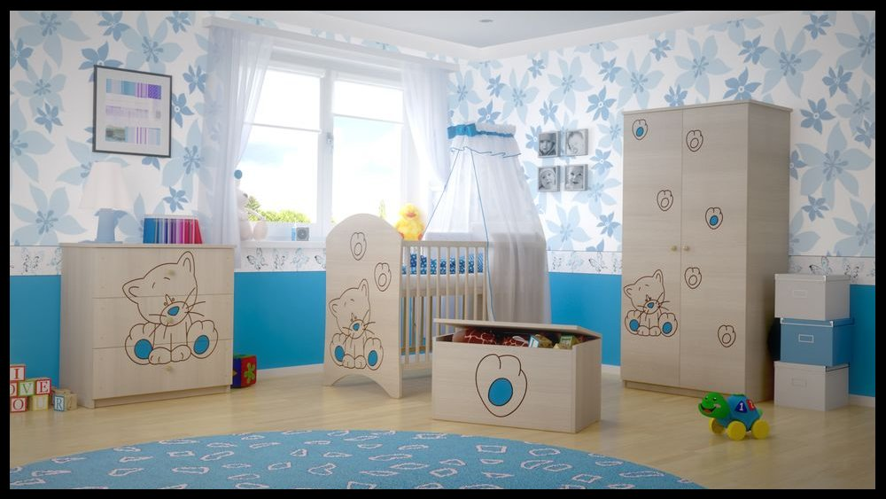 5 PCS BABY NURSERY FURNITURE SET - COT + MATTRESS + WARDROBE + CHEST OF DRAWERS + TOY BOX (model 5)  Included: cot + mattress + wardrobe + chest of drawers + toy box Material: wood GREAT QUALITY 1