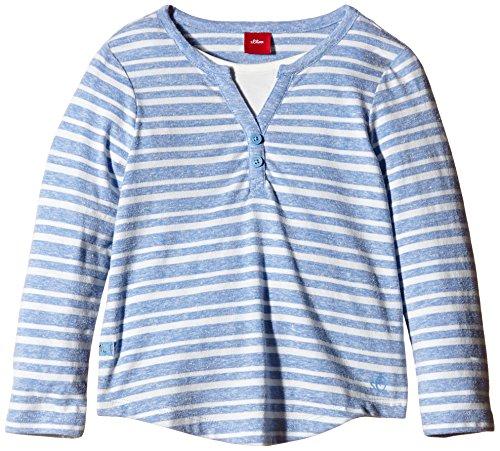 s.Oliver Mädchen Langarmshirt 2in1 Optik, Gestreift, Gr. 128 (Herstellergröße: 128/134), Mehrfarbig (blue stripes 53G4)