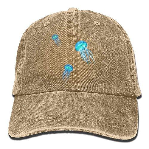 Wfispiy Vintage Cotton Denim Cap Baseball Hat Jellyfish Six-Panel Adjustable Trucker Dad Hat for Adults Unisex X1183 -