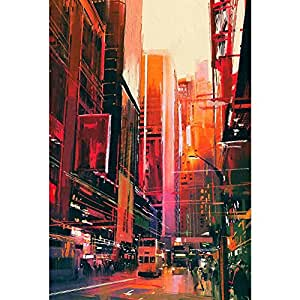 PB City Street With Office Buildings Canvas Painting 6mm Thick MDF Frame 14 x 20.8inch
