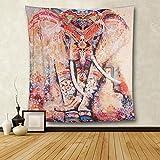 Indian Tapisserie Wandbehang Elefant Wandteppiche Mandala Tuch Wandtuch Indien Hippie-/ Boho Stil als Dekotuch/Tagesdecke indisch orientalisch Psychedelic 150x200cm