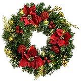 WeRChristmas krans, kerstdecoratie, verlicht, met 20 warmwitte LED-lampen, rood/goud, 60 cm