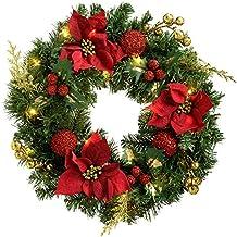 werchristmas 60 cm pre lit con forma de corona de navidad con iluminacin 20 ledes - Coronas De Navidad
