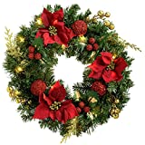WeRChristmas 60 cm Pre-Lit con Forma de Corona de Navidad con iluminación 20 ledes de luz Blanca cálida, Rojo/Dorado