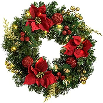 Werchristmas Pre Lit Decorated Wreath Illuminated With 20