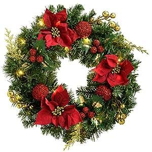 WeRChristmas, Ghirlanda natalizia con 20 luci LED (luce calda-bianca), Rosso/Oro (Rot/Gold), 60 cm