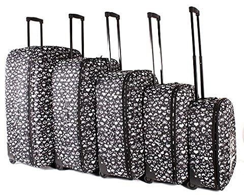 tc-hp-02Cœurs Noir bagages Lot de 5–Funky léger Aero Voyage Valise