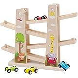 Baobë Kinder Kugelbahn Spielzeug Auto Rennbahn Holz Spielzeug mit 4 Fahrzeuge Auto Kinderspielzeug Geburtstaggeschenke…