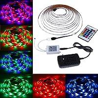 Rovtop Tiras de LED Iluminación 3528 RGB 5M 300 Leds, Impermeable, pegan en la Ventana, Control de 24 Teclas para la Decoración detrás de la Televisión , de la Cocina y Bar - la Energía 12V 2A