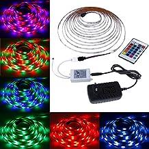 Rovtop Tiras LED Iluminación 3528 RGB 5M 300 Leds, impermeable, control de infrarrojos 24 teclas para la iluminación de La tele y de la cocina - la energía 12V 2A