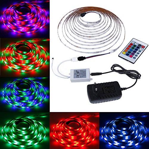 Rovtop – LED-Streifen-Beleuchtung 3528RGB, 5m 300LEDs, wasserdicht, Infrarot-Fernbedienung mit 24Tasten, für die Beleuchtung des Fernsehers oder der Küche–12V, 2A. verschiedene farben