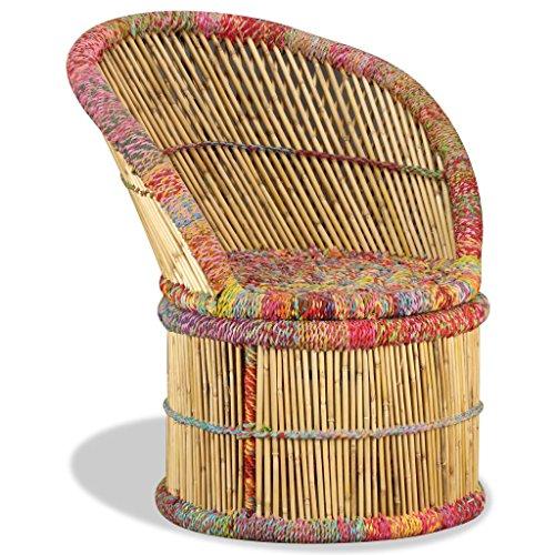 Vidaxl sedia bambù con dettagli chindi multicolore poltrona sgabello salotto
