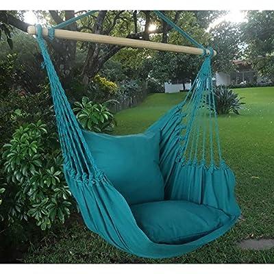 Hängesessel Hängematte Hängestuhl Hängeschaukel Hängesitz Talapo Aqua 305 L mit 2 Kissen aus 100 % Baumwolle von Holzenplotz - Gartenmöbel von Du und Dein Garten