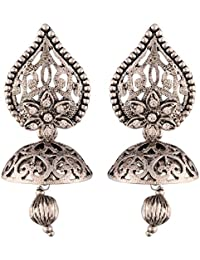 I Jewels Silver Plated Jhumki Earrings for Women (E2431S)
