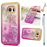 S7 Edge Case,Badalink Clear Soft TPU Case Cover Gradient Color Change Shiny 3D Glitter Floating Liquid Slim Fit Protective Shockproof Anti Scratch Case with Electroplating Technology For Samsung Galaxy S7 Edge,Tower