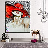 mmwin red hat girl painting canvas home decor coloring woman painting wall art