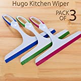 #4: Hugo Wiper Handy Cleaning Hand-Held with Non-Slip Handle - for Cleaning Window Glass, Tiles, Kitchen Table Platform, Car Auto Windshield Pack of 3 Wiper