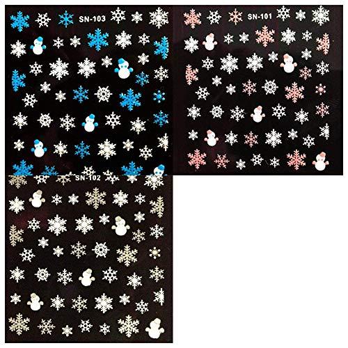 TOOGOO 3 x Feuilles De No?l Flocons De Neige 3D Ongle Art Autocollants Décalcomanies Décorations Pour Femmes Filles