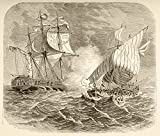 Ken Welsh / Design Pics – An American Navy Ship Captures An Algerian Pirate Ship Off The Barbary Coast During The First Barbary War 1801 To 1805. Photo Print (38,10 x 33,02 cm)