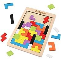 Coogam Bois Puzzle 40 Pcs Tangram Jigsaw Jouet Casse-tête pour Les Enfants Bois Puzzle Boîte Cerveau Jeu Bloc de…