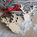 ILOVEDIY 10Stück Holz Weihnachtsanhänger Weihnachtsbaum Deko christbaumschmuck Elch Sterne Engel Schneemann (Hirsch Kopf-10Stück)