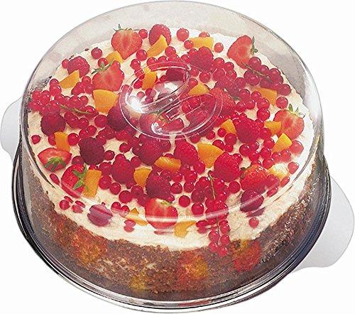 APS Tortenplatte mit 2 Hauben Durchmesser 30cm, Haubenhöhen 7 und 10cm Edelstahl mit Produkteinleger (Tortenplatte Mit Deckel)