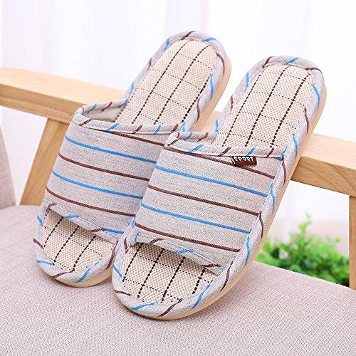 Confortable Chaussons de lin Chaussons de sol pour hommes Chaussons de pantoufles Chaussons d'été (5 couleurs en option) (taille facultative) Augmenté ( Couleur : D , taille : 44% ) D