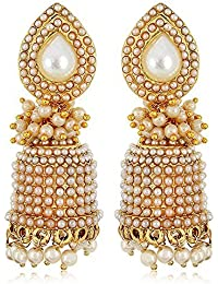 Zeneme Copper Gold Plated Jhumki Earrings Jewellery For Women And Girls