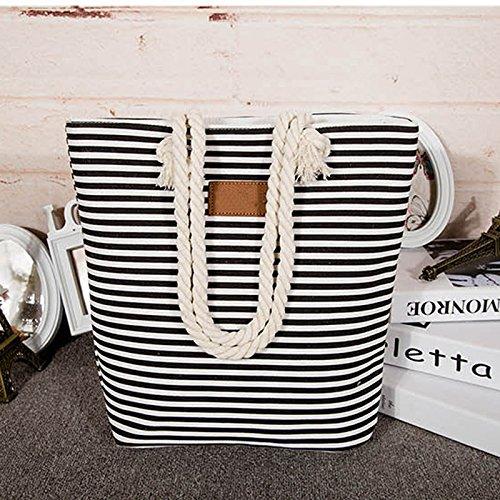 Segeltuchstreifen-Schulterbeutel Gross Handtaschen-Strandtasche beiläufiges Tasche mit großer Kapazität Schwarz