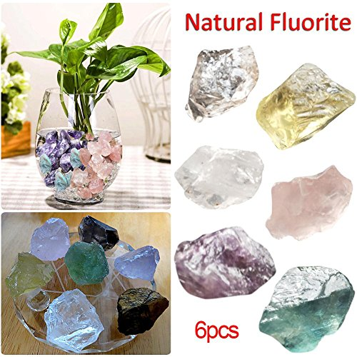 alian 6 pcs/bag natural fluorite raw gemstone quartz crystal stone point healing wand treatment stone amethyst.