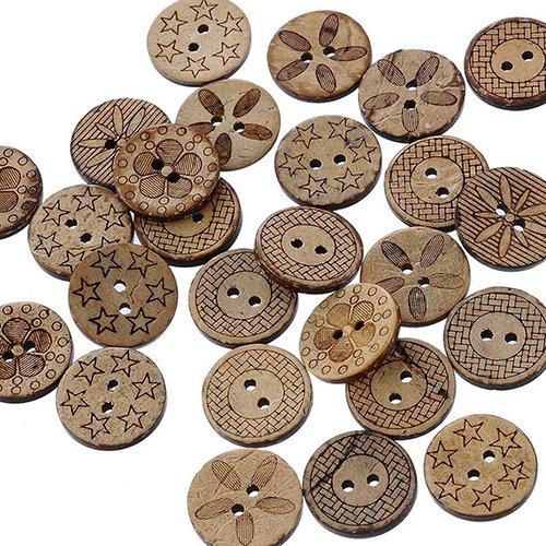 Little Finger 50 Stück gemischte Muster Kokosnuss Muschel 2 Löcher Nähen Knöpfe DIY Scrapbooking 18 mm Schön und zart, siehe abbildung, Einheitsgröße (Dekorative Windel-pins)