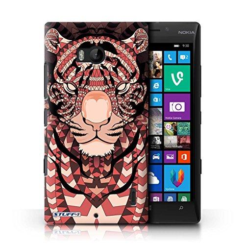 Coque en plastique pour Nokia Lumia 930 Collection Motif Animaux Aztec - Loup-Cramoisi Tigre-Rouge