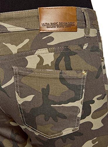 oodji Ultra Damen Jeans im Military-Stil mit Rissen Grün (6869W)