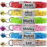 TagME Collares de Gato Personalizados con Placa de Nombre/Collares de Perro pequeños con Nombre, número de teléfono, número de Microchip/Estrella patrón/Rosado
