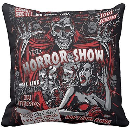 AORSTAR Throw Pillow Cover Horror Movie Monsters Spook Show Decorative Pillow Case Halloween Home Decor Square 18x18 Inch Cushion Pillowcase,Eco-Friendly Soft Manual Custom