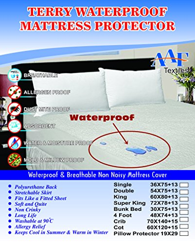 Buy 1 Get 1 Free Double Cotton Terry Towelling Waterproof Mattress Protector Extra Deep Non crinky Anti Allergy Anti Bacterial Absorbent Anti Dust Mite Washable