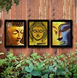 TIED RIBBONS Buddha Framed Paintings (13.6 Inch X 10.2 Inch) (TR Buddha3Frame3L012, Black) Set of 3